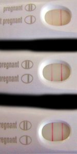 Positiv schwangerschaftstest ganz schwach Leichter Strich